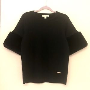NWT Michael Kors Fur Short Sleeve Black Sweater M